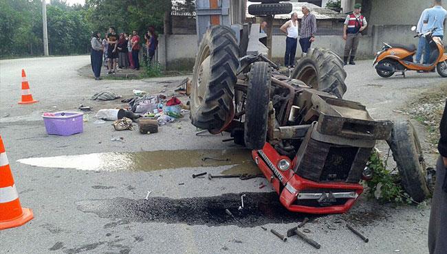 Fındık işçilerini taşıyan traktör devrildi... 18 yaralı