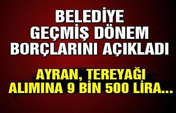 Belediye geçmiş dönem borçlarını açıkladı... Ayran, tereyağı alımına 9 bin 500 lira...