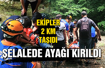 Şelalede ayağı kırıldı... Ekipler 2 km taşıdı...