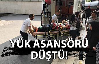 Yük asansörü düştü! 1 yaralı
