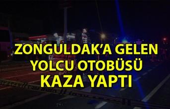 Zonguldak'a gelen yolcu otobüsü kaza yaptı: 2 yaralı var