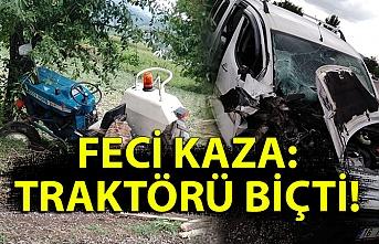 Feci kaza: Traktörü biçti!
