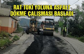 Rat TOKİ yoluna asfalt dökme çalışması başladı