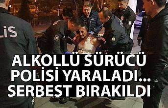 Alkollü sürücü polisi yaraladı...  Serbest bırakıldı
