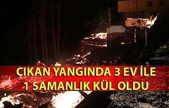 Çıkan yangında 3 ev ile 1 samanlık kül oldu