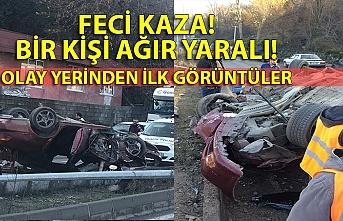 Feci kaza: otomobil takla attı! sürücü ağır yaralı