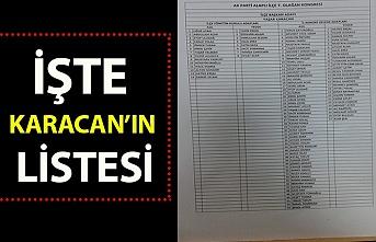 İşte Karacan'ın listesi