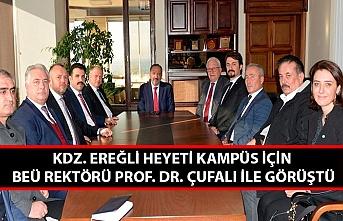 Kdz. Ereğli heyeti kampüs için BEÜ Rektörü Prof. Dr. Çufalı ile görüştü