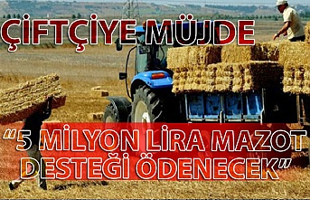 """Zonguldak'ta çiftçiye müjde; """"5 Milyon Lira Mazot Desteği ödenecek"""""""
