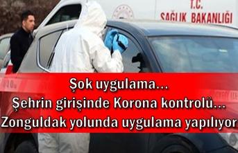 Şok uygulama... Şehrin girişinde Korona kontrolü... Zonguldak yolunda uygulama yapılıyor