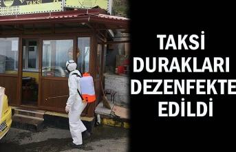 Taksi durakları dezenfekte edildi