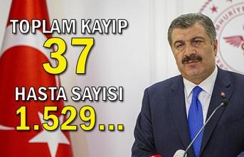 Toplam kayıp 37, hasta sayısı 1.529...