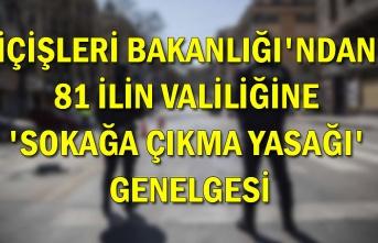 İçişleri Bakanlığı'ndan 81 ilin valiliğine 'sokağa çıkma yasağı' genelgesi
