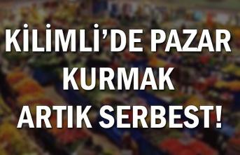 Kilimli'de Pazar kurmak artık serbest!