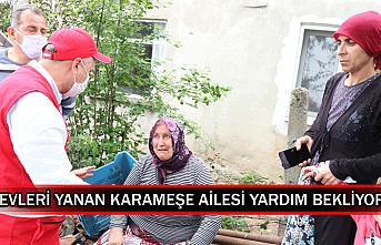 Evleri yanan Karameşe ailesi yardım bekliyor