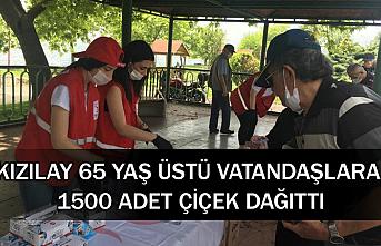 Kızılay 65 yaş üstü vatandaşlara 1500 adet çiçek dağıttı