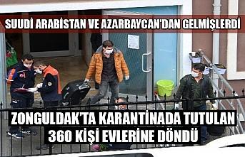 Zonguldak'ta bulunan 360 kişinin karantina süresi doldu