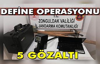 Jandarmadan kaçak kazı operasyonu: 5 gözaltı