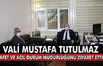 Vali Mustafa Tutulmaz  Afet ve Acil durum müdürlüğünü ziyaret etti.