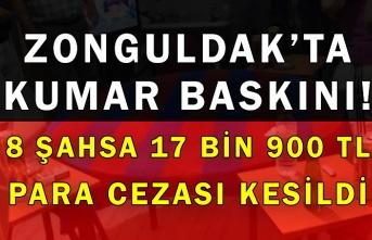 Zonguldak'ta kumar baskını! 8 şahsa 17 bin 900 TL para cezası kesildi
