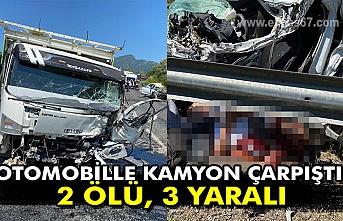 Otomobille kamyon çarpıştı: 2 ölü, 3 yaralı