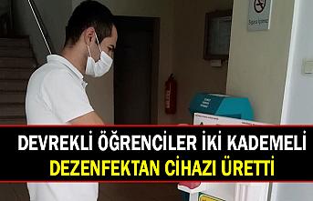 Devrekli öğrenciler iki kademeli dezenfektan cihazı üretti