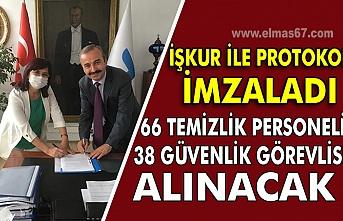 İŞKUR ile protokol imzaladı. 66 Temizlik personeli  38 Güvenlik görevlisi alınacak.