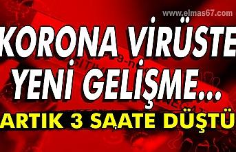 Korona virüste yeni gelişme... Artık 3 saate düştü....