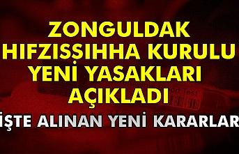 Zonguldak Hıfzıssıhha kurulu yeni yasakları  açıkladı