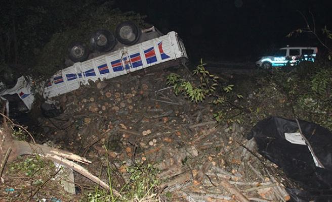 Odun yüklü kamyon şarampole uçtu... Sürücü hayatını kaybetti