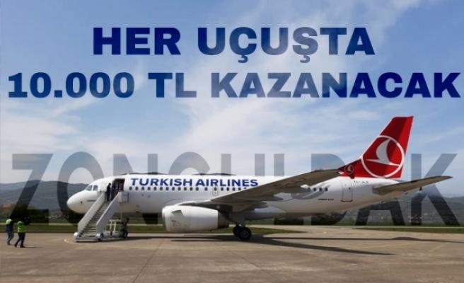 THY Zonguldak'a her uçuşunda 10.000 TL kazanacak
