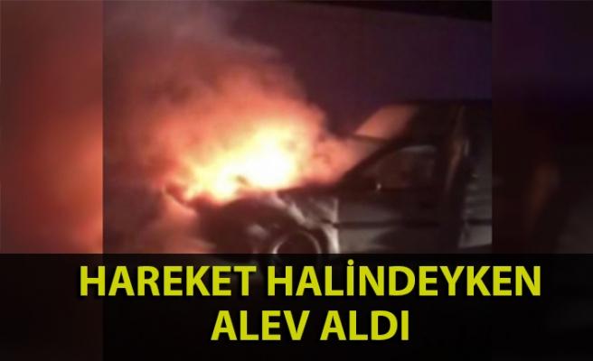 Zonguldak'ta bir araç hareket halindeyken alev aldı