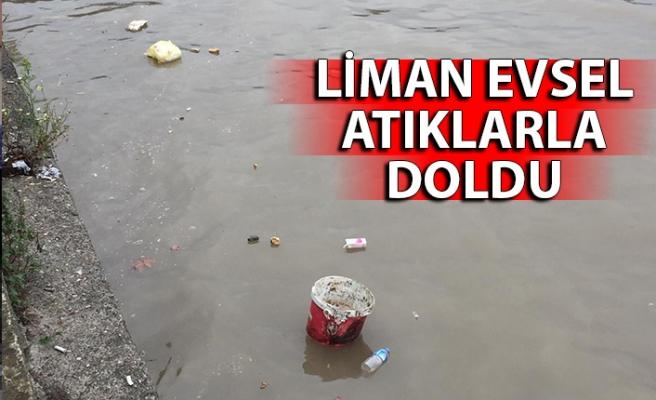 Liman evsel atıklarla doldu