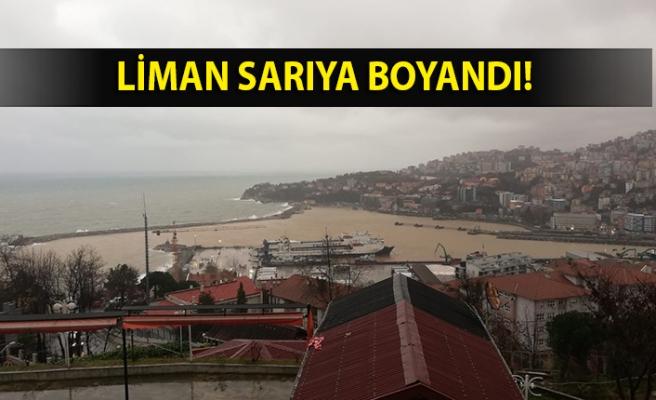 Zonguldak'ta yağışla birlikte liman sarıya boyandı
