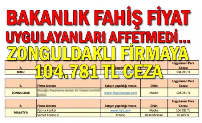 Bakanlık fahiş fiyat uygulayanları affetmedi... Zonguldaklı firmaya 104.781 TL ceza
