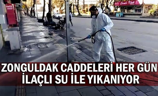 Zonguldak caddeleri her gün ilaçlı su ile yıkanıyor