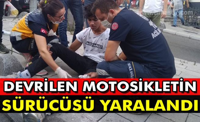 Devrilen motosikletin sürücüsü yaralandı.