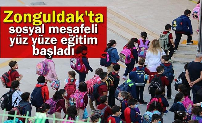 Zonguldak'ta sosyal mesafeli yüz yüze eğitim başladı