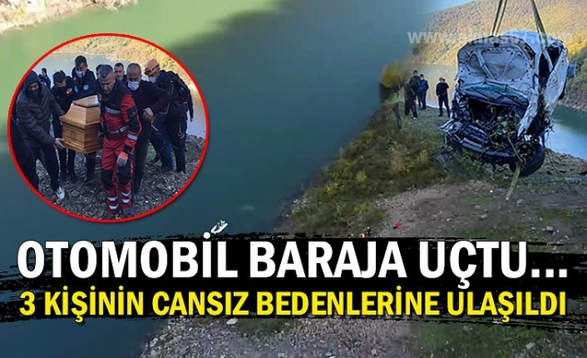 Otomobil baraja uçtu... 3 kişinin cansız bedenlerine ulaşıldı