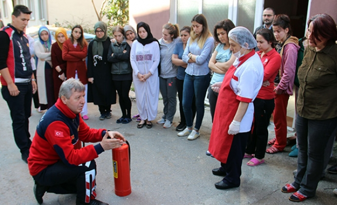 Yangın söndürme eğitimi...