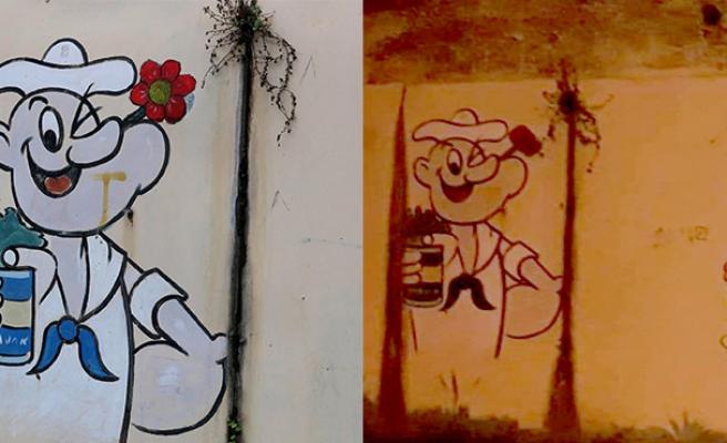 Temel Reis'e pipo ayarı... Ağzına çiçek çizdiler