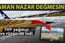 THY uçağı Zonguldak'a yağmur ve rüzgarda iniş yaptı