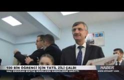 Vali Erdoğan Bektaş, öğrencilere karne dağıttı