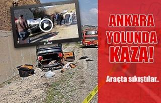 Ankara yolunda kaza! Araçta sıkıştılar...