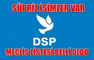 İşte DSP'nin meclis listesi...