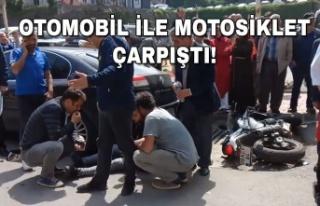 Kaza: Otomobil ile motosiklet çarpıştı!
