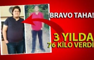 22 yaşındaki Taha Pür 3 yılda 76 kilo verdi