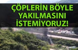 Kozlu'da Belediyesi çöpleri böyle yaktı! Vatandaşlar...