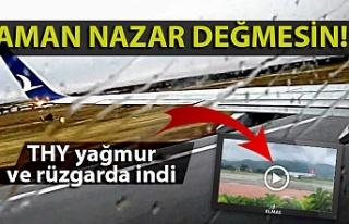THY uçağı Zonguldak'a yağmur ve rüzgarda iniş...