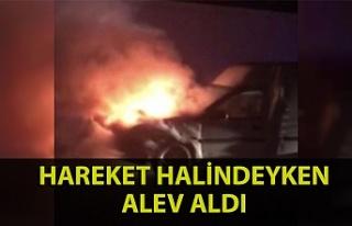 Zonguldak'ta bir araç hareket halindeyken alev...